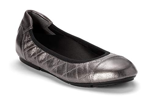 Vionic Women's Prim Ava Ballet Flat Shoes - Dress Casual Flats with Concealed Orthotic Arch Support 7 M US Silver