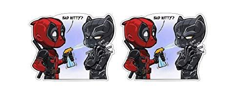 (Deadpool Splashing Black Panther Bad Kitty Superheros Comic Sticker Decal Pegatinas Aufkleber/Plus Coconut Shell Keychain Ring/Car Truck Bumper Bike Notebook Skateboard Suicide Squad)