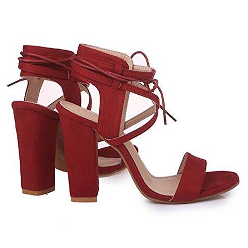 Ouvert Femmes Sangle Bandage pour Rouge Hauts À Talons Sandales Z Chunky Bout À Chaussures QIYUN Cheville Talon pwqYZ4BzK
