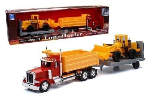 (NewRay New Ray 1: 32 Longhauler - Peterbilt Model 379 Dump Truck with Flatbed Trailer & Backhoe Tractor Diecast Vehicles)