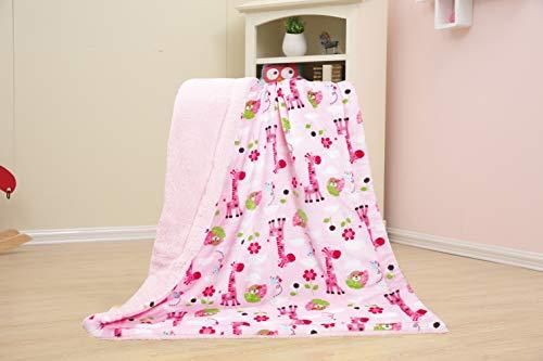 - Homefabrics Baby Kids Soft Warm Borrego Rich Printed Flannel Fleece Kiddie Throw Sherpa Blanket, Brown, Green Pink Color, Giraffe & Monkey Pink Base Pattern, 40