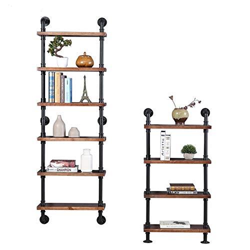 Loft Estilo industrial Librería estantería, Montaje en pared Escalera de madera Soporte de exhibición del libro Rack Tubo...