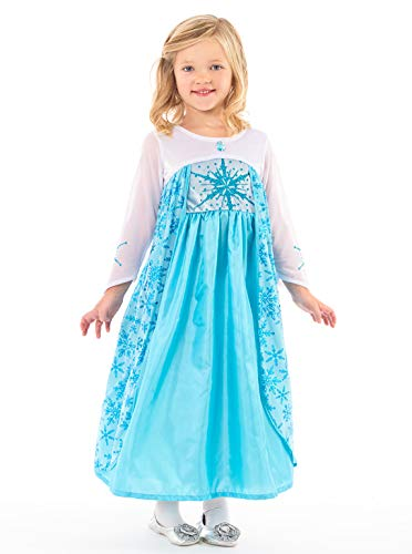Little Adventures Ice Princess Dress up Costume for Girls (Medium 3-5) Blue -