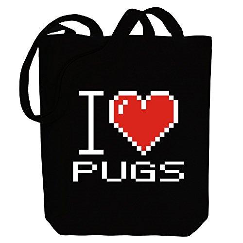 I Bag Idakoos pixelated Pugs Tote Idakoos Canvas I love Dogs OgHFp