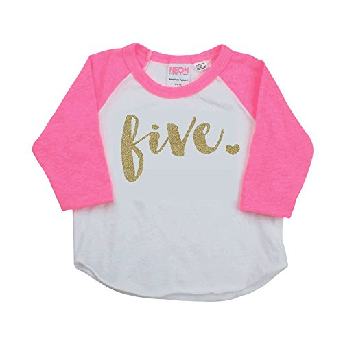 (Girl Fifth Birthday Outfit, Fifth Birthday Shirt, Five Year Old Outfit (6T))