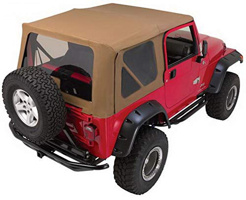 (RAMPAGE PRODUCTS 68736 Complete Soft Top with Frame & Hardware for 1997-2006 Jeep Wrangler TJ, with Full Steel Doors (no Soft Upper Doors), Khaki)