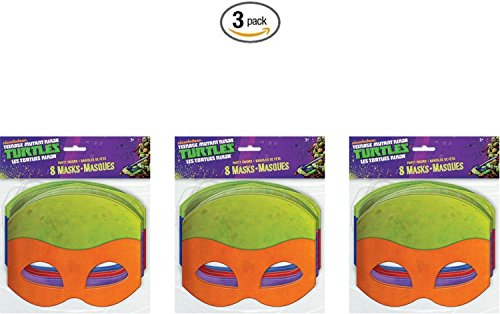 Teenage Mutant Ninja Turtles Masks, 8 Count (3) (Ninja Turtle Party Mask)