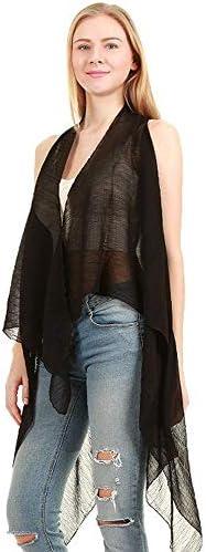 Solid Draped Sleeveless Front Cardigan product image