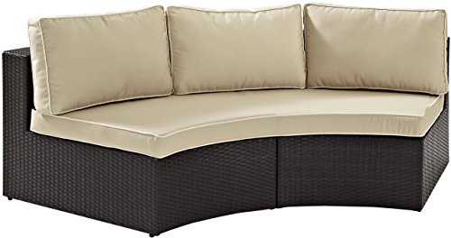 - Crosley Furniture Catalina Outdoor Wicker Round Sectional Sofa with Sand Cushions - Brown