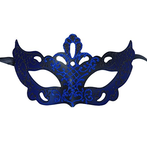 Xvevina Venetian Masquerade Masks for Party / Ball Prom / Mardi Gras / Wedding / Wall Decoration (black/blue crown)