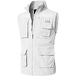 H2H Mens Summer Cotton Leisure Outdoor Plus Size Fish Vest Offwhite US 3XL/Asia 4XL (KMOV0151)
