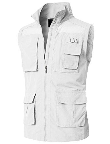 - H2H Men's Reversible Cotton Leisure Outdoor Pockets Fish Photo Journalist Vest OFFWHITE US S/Asia M (KMOV0151)