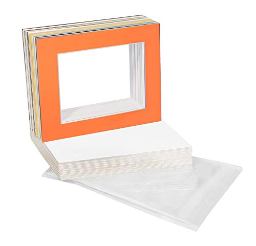 (Golden State Art, Pack of 25 Mixed Colors Pre-Cut 11x14 Picture Mat for 8x10 Photo with White Core Bevel Cut Mattes Sets. Includes 25 High Premier Acid Free Mats & 25 Backing Board & 25 Clear Bags)
