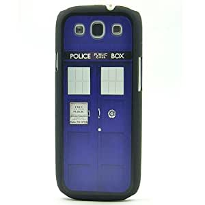 Black Snap On Case Samsung Galaxy S3 I9300 Plastic Cover - Doctor Who Tardis Police Box Pattern + Screen Protector