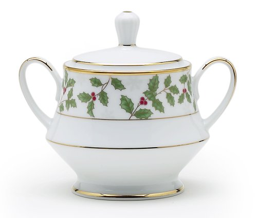 Noritake Holly & Berry Gold Sugar Bowl with Cover