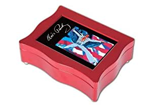 Cottage Garden Elvis Presley Flag Digital Music Box, Glossy Red by Cottage Garden (Home Decor)