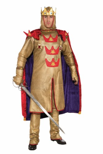 Forum Deluxe Designer Collection Armored King Arthur Costume, Gold, (King Arthur Adult Mens Costumes)