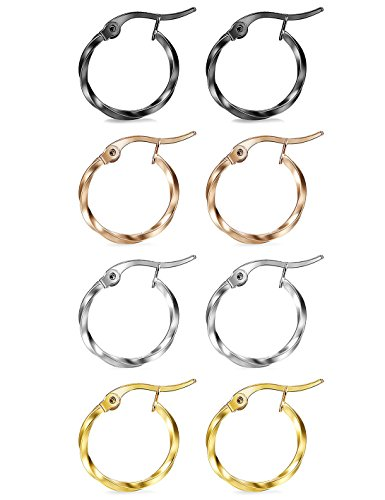 FIBO STEEL 4 Pairs Stainless Steel Twist Hoop Earring for Women Girls Small Round Hoop Earrings Set 15-25MM