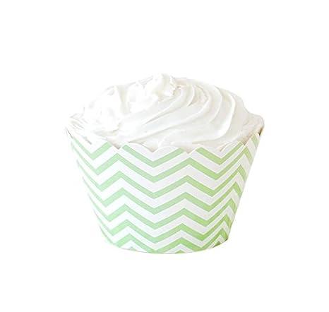 6 cupcake-wrapper-abrigos en verde-blanco con diseño de Chevron: Amazon.es: Hogar
