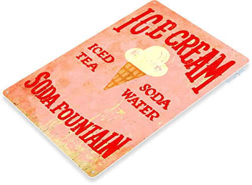 Tinworld TIN Sign Ice Cream Soda Fountain Kitchen Carnival Fair Rustic Metal Décor C011