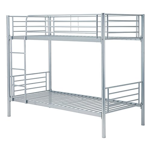 Mecor Twin Metal Bunk Beds-Twin Over Twin Bunk Bed Frame-for Kids/Teens/Adults/Children-Bedroom Furniture with Ladder,Undetachable/Silver Gray