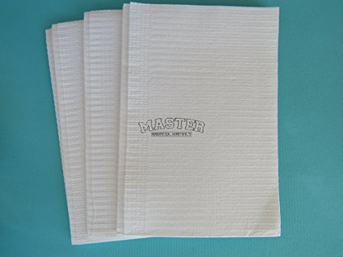 Disposable Patient Bibs Dental Tissue Tattoo Towels 50 Pcs WHITE Color 2 + 1 Ply Poly Waterproof 13'' X 18''
