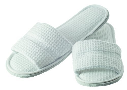 Hydrea London White Waffle Cotton Spa Slippers SLP by Hydrea -