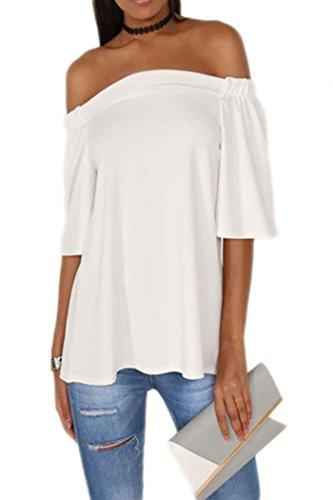 Qearal Womens Casual Shoulder T Shirt