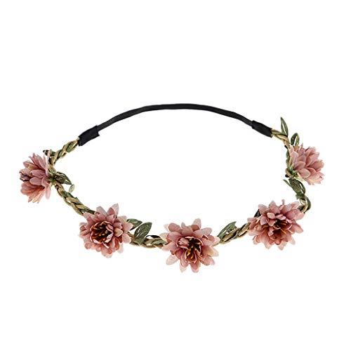 Women's Headband Boho Flower Floral 2019 Hair Head Wreath Roses Beach Festival Wedding Party (Free, Watermelon)]()