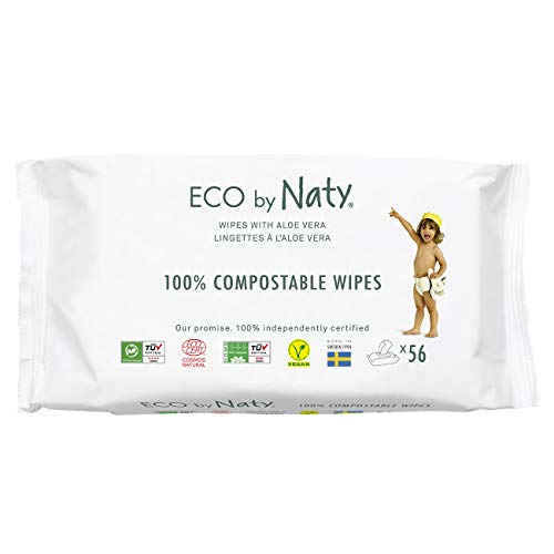 Eco by Naty Aloe Vera Baby Wipes, 672 count (12 packs of 56), Plant based Compostable Wipes, 0% plastic. No nasty…