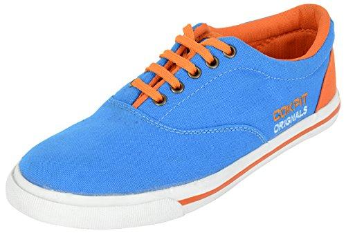 Cokpit Men's Aqua And Orange Cotton Sneakers – 9 UK