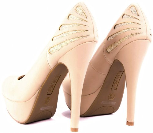 Ericka-40 Glamour Glitter Cut Out Vestido De Noche Stiletto High Heel Platform Bombas Desnudo