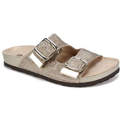 WHITE MOUNTAIN Shoes Horizon Women's Sandal, Gold/Glitter/FAB, 11 M