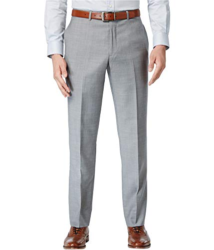 Tommy Hilfiger Mens Flat Front Trim Fit 100% Wool Suit Separate Pant, Grey Solid, 33W x 30L