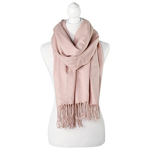 Soft Pink Solid Color Fringe Womens Fashion Warm Winter Blanket Scarf Scarves (Trend Color Monkeys)