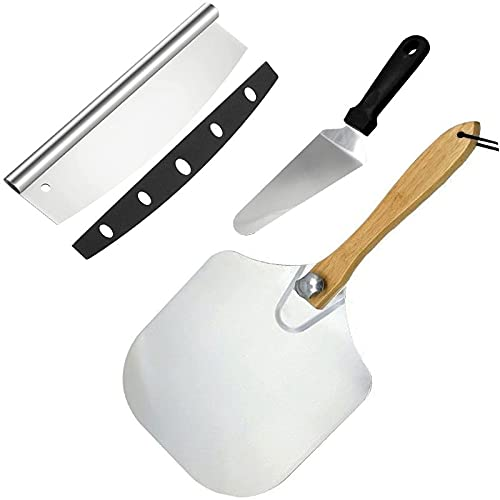Metal Aluminum Pizza Peel Set - 12 inch x 14 inch Pizza Paddle with Foldable Wood Handle, Pizza Cutter and Pizza Server, Grill Oven Accessories Tools Pastry Dough Bread Turner, Baking Cake Spatula