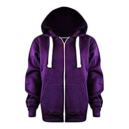 Elite Pleasure Womens Plain Coloured Fleece Hoodie Sweatshirt Ladies Long Sleeve Zip Up Jacket Top Plus Size 8-22