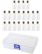 JZK Mini-glazen fles, 20 x 5 ml, met kurksluiting, kleine glazen fles met kurk, mini-glazen fles met stopper