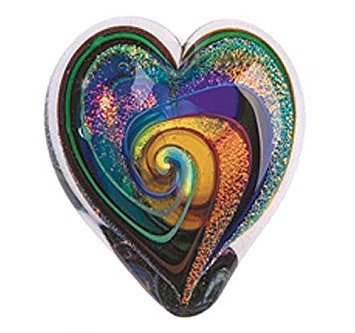 Glass Eye Studio Hand Blown Hearts of Fire Golden Rainbow Glass Paperweight