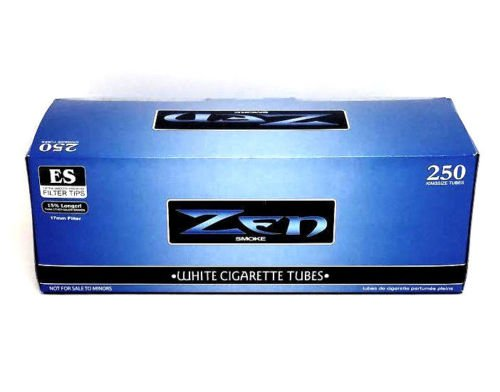 Filter Tubes (Zen Blue Light King Cigarette Tubes Box 250 ct. White Filter Tubes NEW Wholesale)