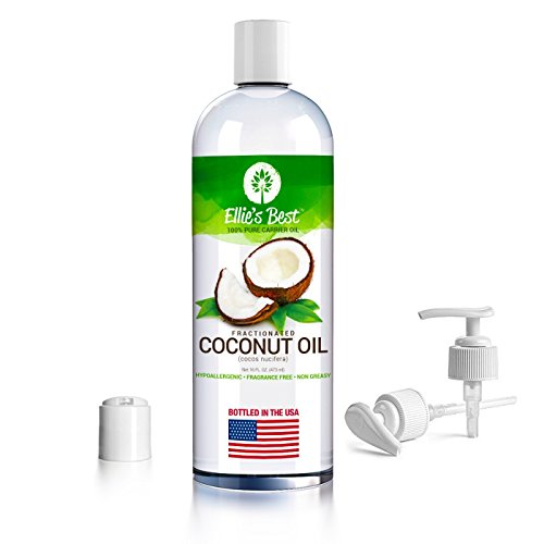 Fractionated Coconut Oil - Pure Expeller Pressed - Carrier Oil for Essential Oils Aromatherapy & Massage - Therapeutic Grade - Hexane Free MCT - USA Bottled - Lg 16oz Pump - 12 Recipes - Ellies Best (Coconut Essential Oils Massage Oil)