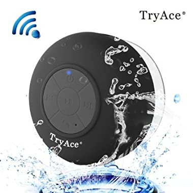 TryAce Wireless Bluetooth 3.0 Waterproof Shower Speaker with built in Mic Control Buttons and Dedicated Suction Cup
