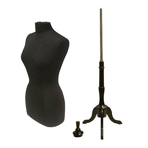Female Plus Size Dress Form Body Form Mannequin (Size 14-16) with Base (14/16, Black Form + Black Base)