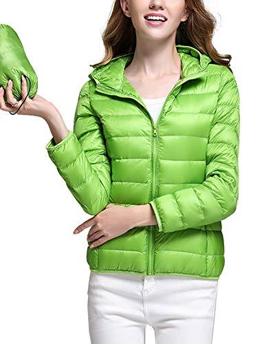 Ligero Verde Zixing Mujer Pluma Plumas Invierno De Abrigo Capucha Chaquetas Abajo OXnRXv7