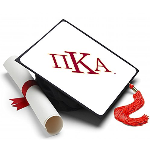 Pi Kappa Alpha Graduation Cap Hat Topper Decoration Fraternity 8.5 x 8.5 Inch Pike White