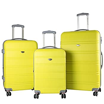 Image of American Green Travel 3-Piece Hardside Spinner Luggage Set with TSA Lock, Yellow Luggage