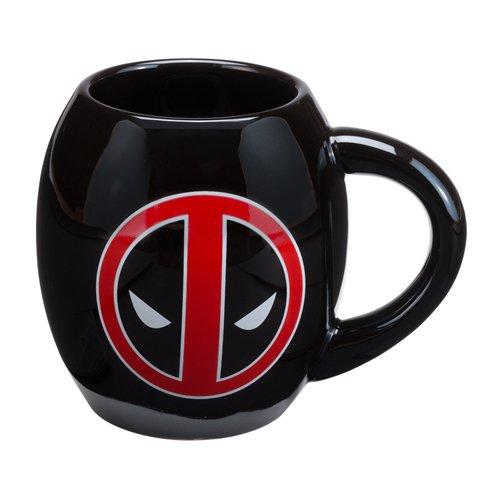 Vandor 26766 Marvel Deadpool 18 oz Oval Ceramic Mug, Black, Red, and White