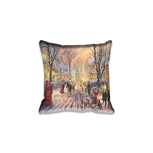 - Custom Design Victorian Christmas Carol by Thomas Kinkade Pillow Cases Zippered, Standard Size Holidays Pillowcase - 20X20inch Christmas Cushion Covers Twin Side Print