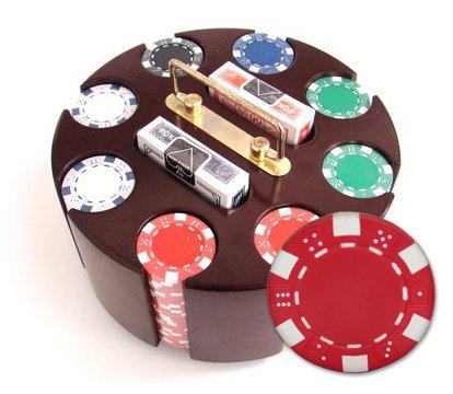200 11.5 Gram Striped Dice Poker Chips & Wooden Carousel