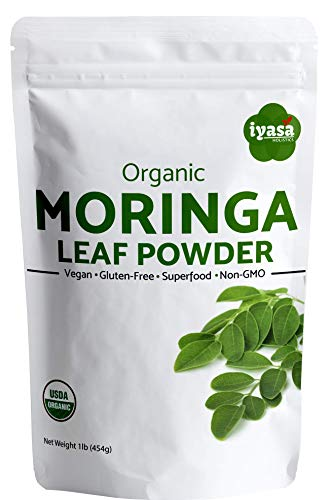 Premium Organic Moringa Leaf Powder, Moringa Oleifera 100% USDA Organic, Raw Superfood and Multi-Vitamin,Rich Energy Booster,Resealable Pouch